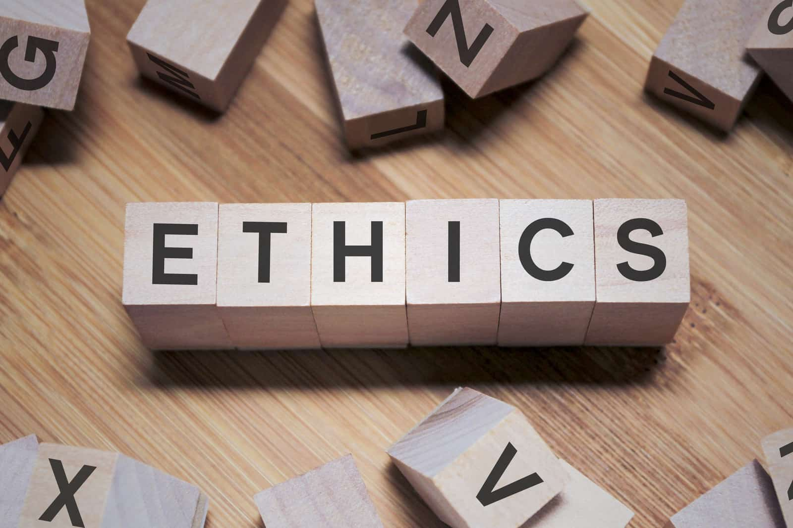 ETHICS Word In Wooden Cube