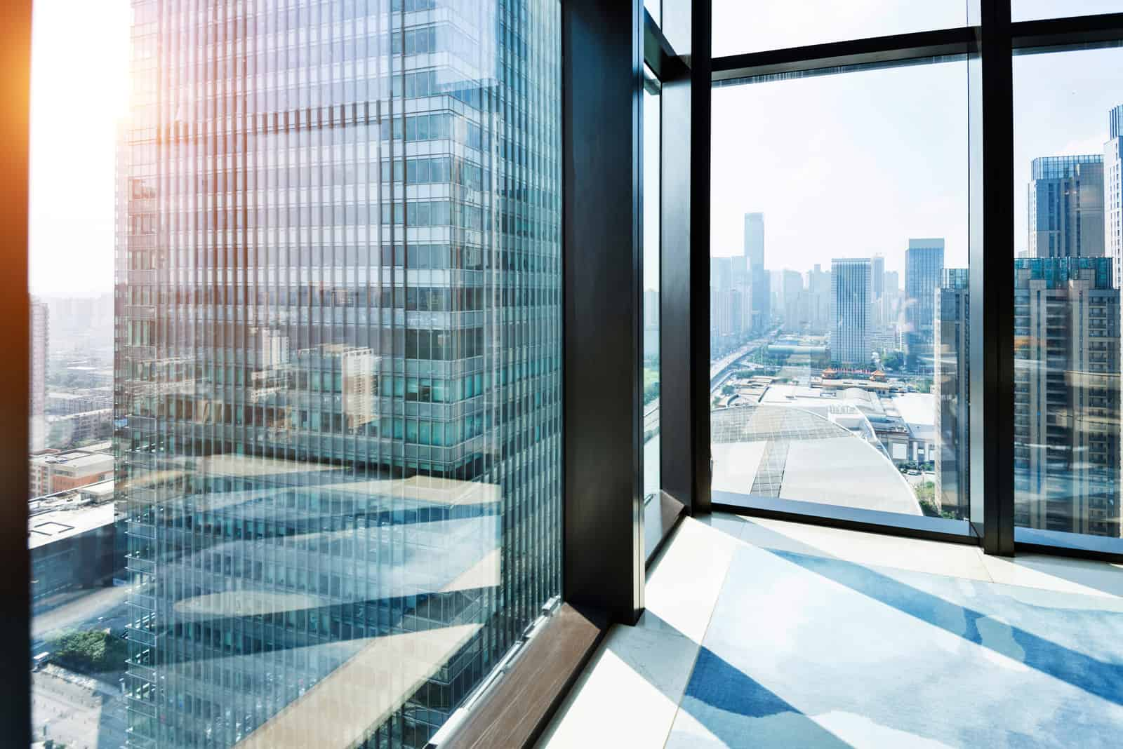 Modern building and cityscape outside the window
