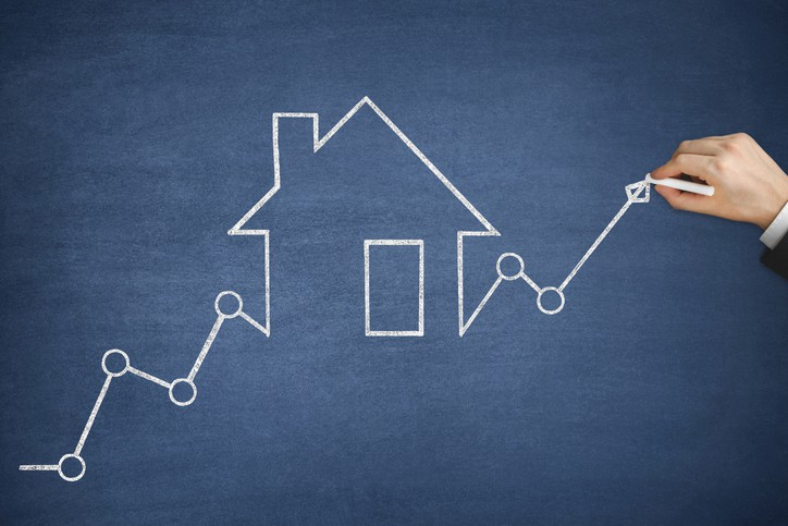 House real estate graph showing increasing home prices